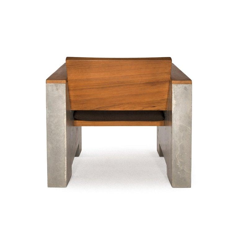 Oiled Brutalist Modern Outdoor Concrete Burmese Teak Lounge Chair For Sale