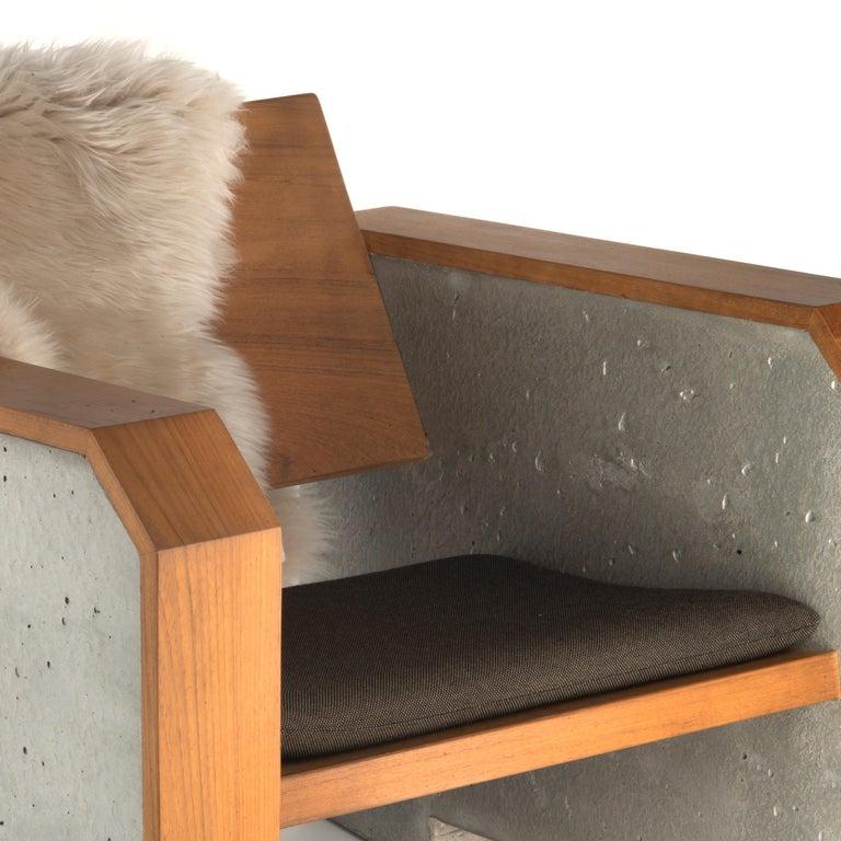 Contemporary Brutalist Modern Outdoor Concrete Burmese Teak Lounge Chair For Sale