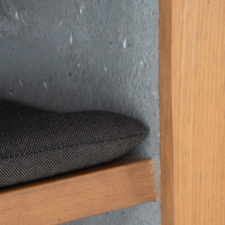 Fabric Brutalist Modern Outdoor Concrete Burmese Teak Lounge Chair For Sale