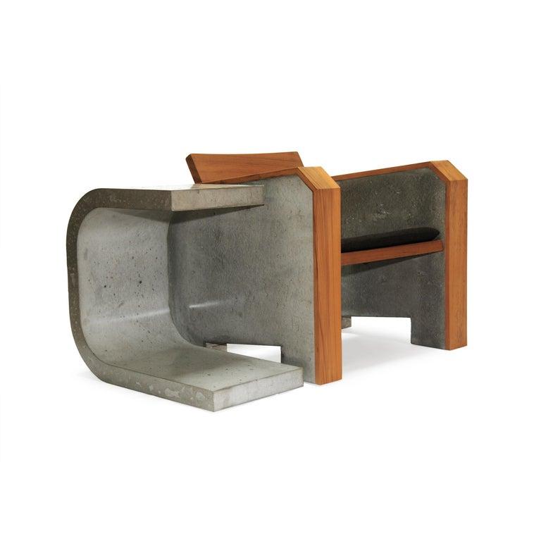 Brutalist Modern Outdoor Concrete Burmese Teak Lounge Chair For Sale 2