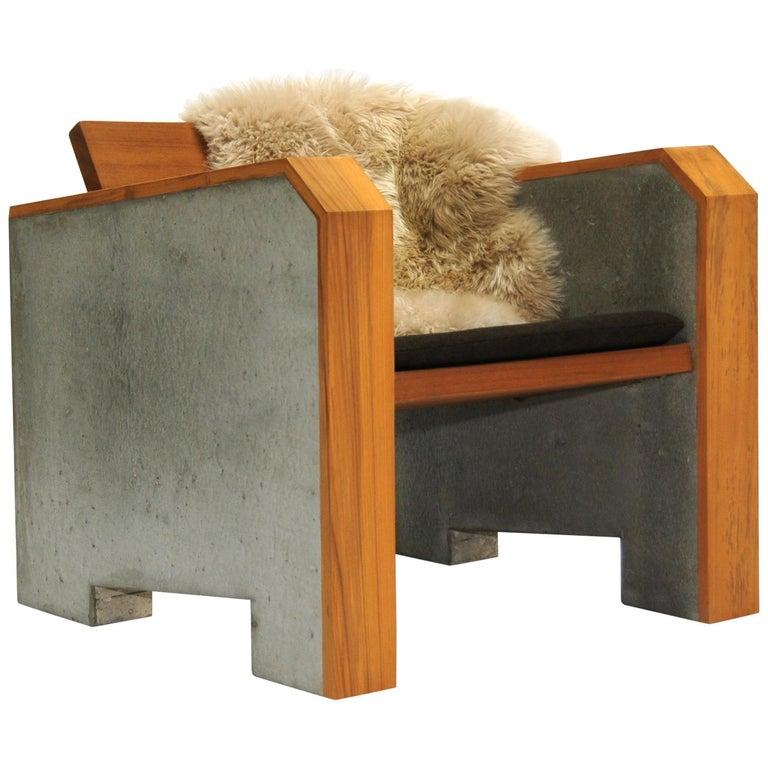 Brutalist Modern Outdoor Concrete Burmese Teak Lounge Chair For Sale