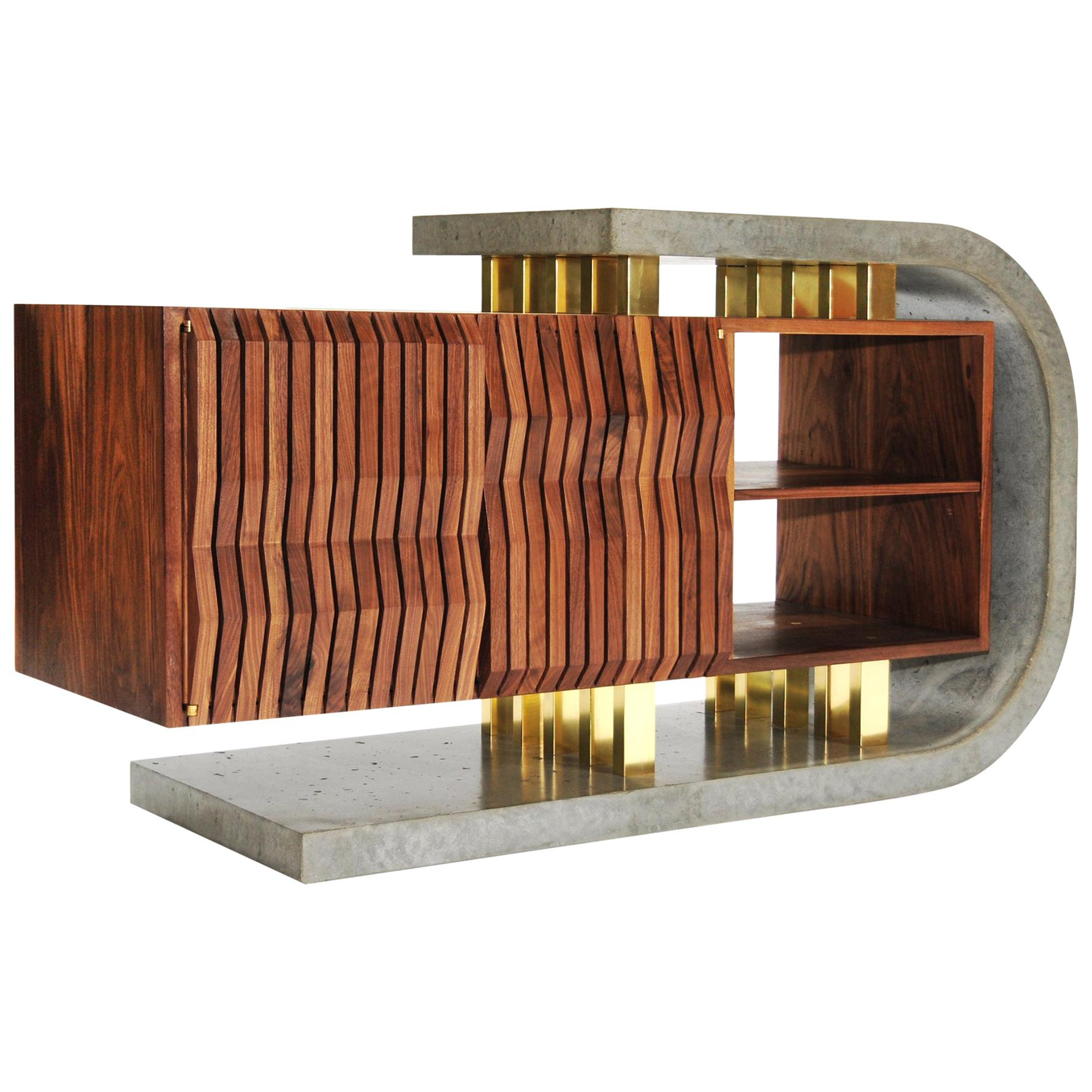 Brutalist Modern Walnut Concrete and Brass Audiophile Sideboard Credenza