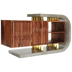 Brutalist Modern Walnut Concrete and Brass Audiophile Sideboard Credenza