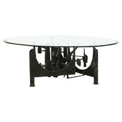 Brutalist Modern Welded Metal Coffee Table with Beveled Round Glass Top