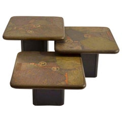 Brutalist Mosaic Coffee Tables by Paul Kingma, Kneip 1989