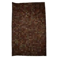 Brutalist Mosaic Rug Square Patchwork Brown Cowhide Leather 1970s Paul Evans Era
