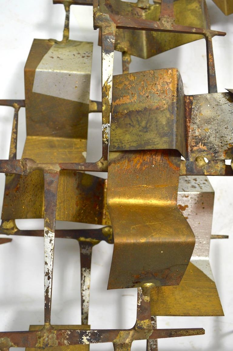 Brutalist Nail and Mixed Metal Wall Mount Sculpture Attributed to Marc Weinstein In Excellent Condition For Sale In New York, NY