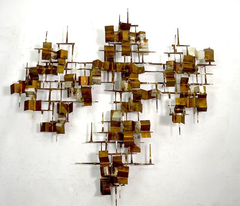Brutalist Nail and Mixed Metal Wall Mount Sculpture Attributed to Marc Weinstein For Sale 1