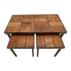 Brutalist Nesting Tables Belgium 1970s Solid Steel and Ceramic Art Work Tiles
