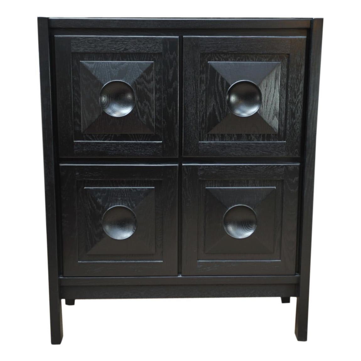 Brutalist Oak 4 Doors Cabinet, Circa 1970