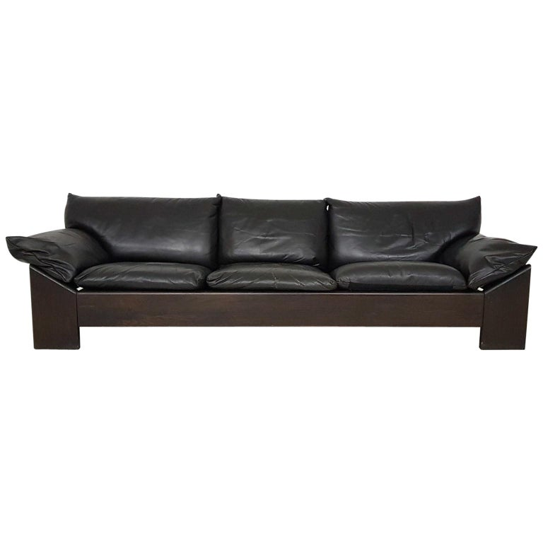 Brutalist Oak and Leather 3-Seat Sofa by Leolux, the Netherlands 1970s