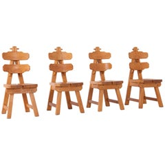 Brutalist Oak Dining Chairs