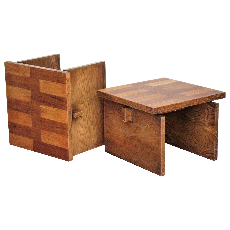 Brutalist Oak Parquet Design End Tables by Lane Furniture