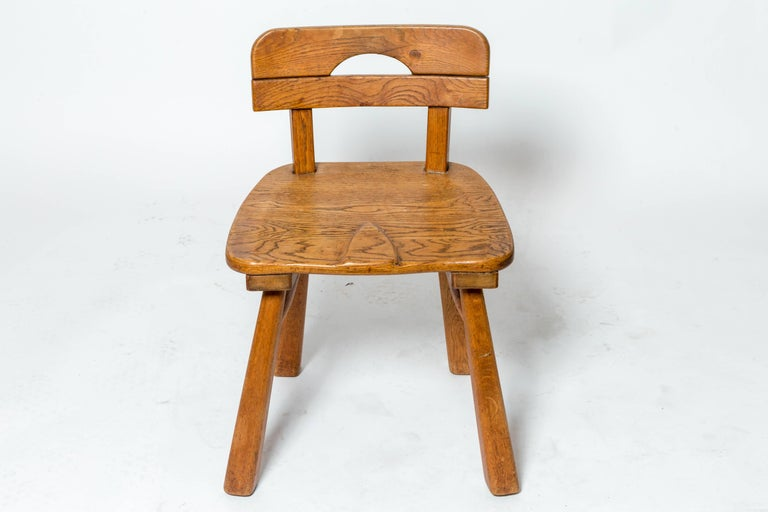 French Brutalist Oak Stool with Back by Cercle Jean Touret for Marolles For Sale