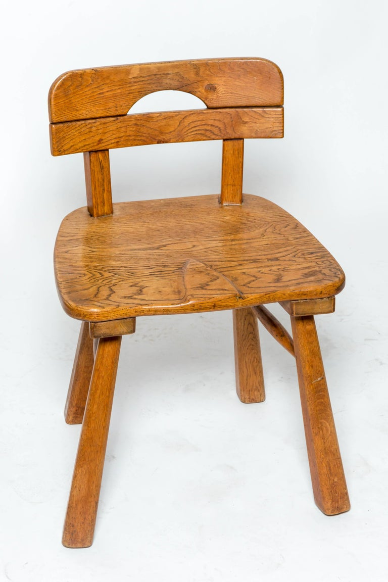 Brutalist Oak Stool with Back by Cercle Jean Touret for Marolles In Excellent Condition For Sale In East Hampton, NY