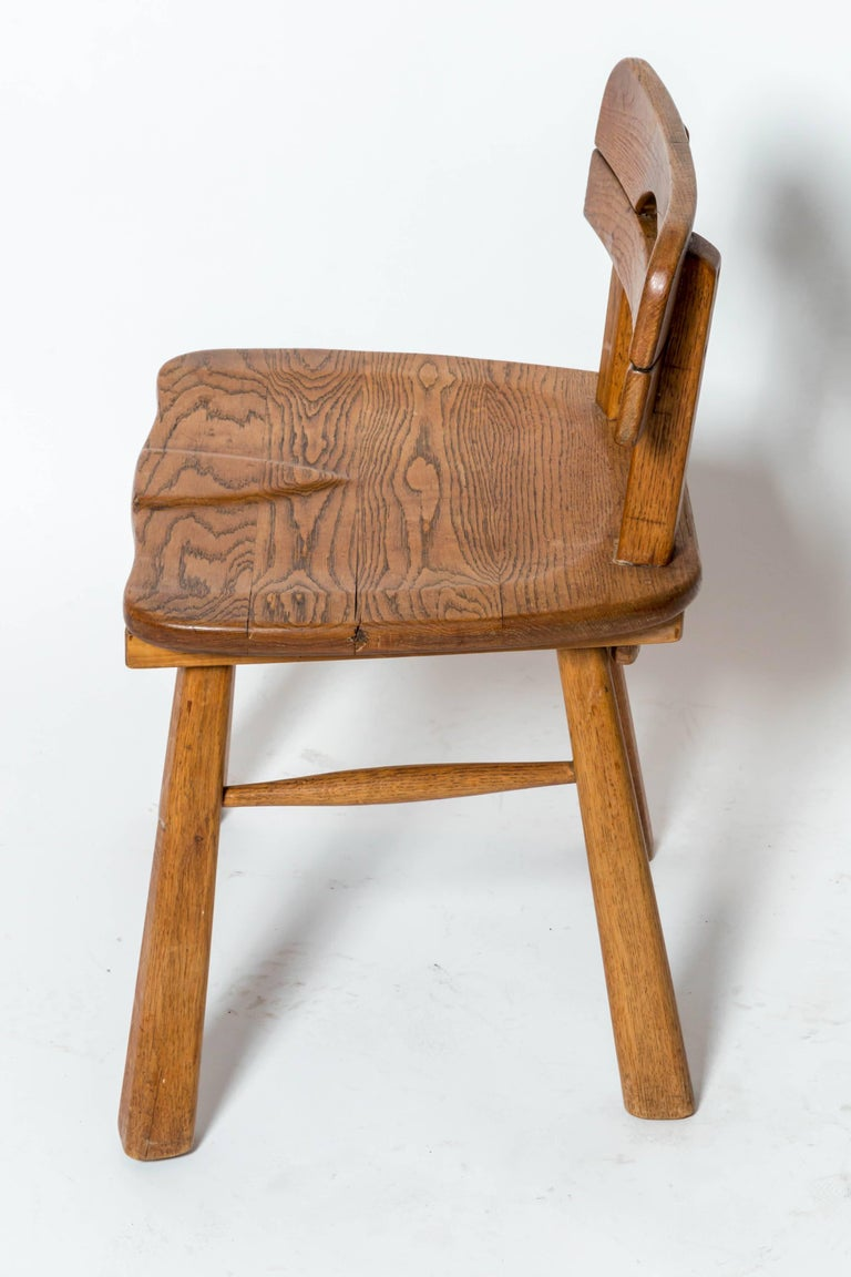 Mid-20th Century Brutalist Oak Stool with Back by Cercle Jean Touret for Marolles For Sale