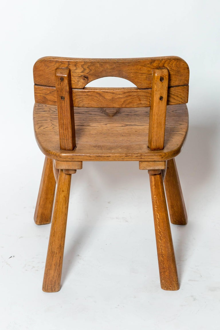 Brutalist Oak Stool with Back by Cercle Jean Touret for Marolles For Sale 1