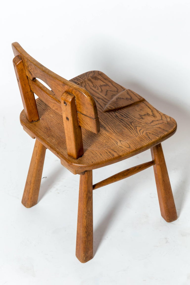 Brutalist Oak Stool with Back by Cercle Jean Touret for Marolles For Sale 2