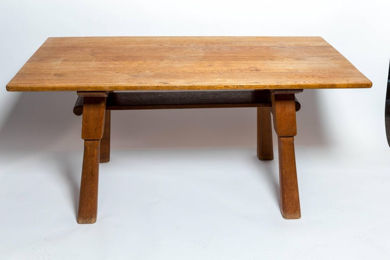 Brutalist Oak Table by Cercle Jean Touret for Marolles For Sale 4