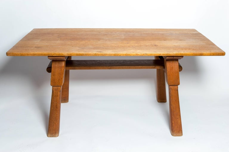 French Brutalist Oak Table, by Cercle Jean Touret for Marolles For Sale