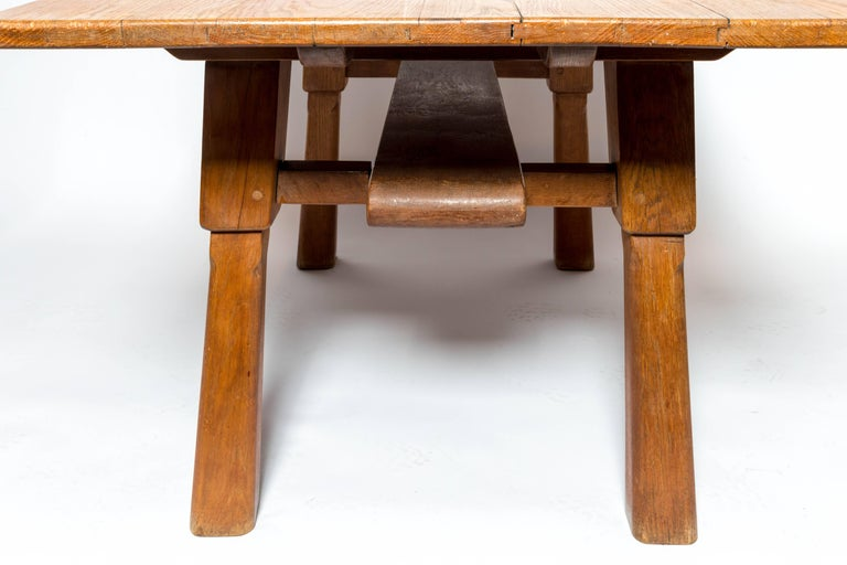 Mid-20th Century Brutalist Oak Table, by Cercle Jean Touret for Marolles For Sale