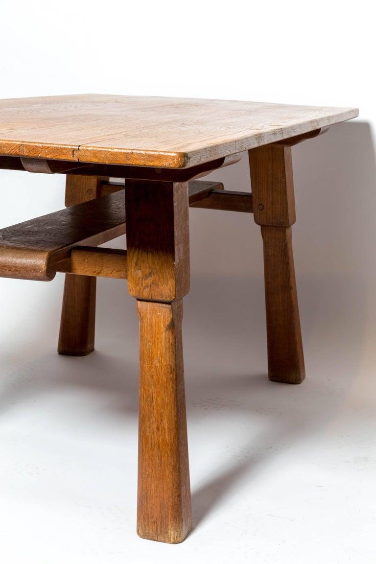 Brutalist Oak Table by Cercle Jean Touret for Marolles For Sale 1