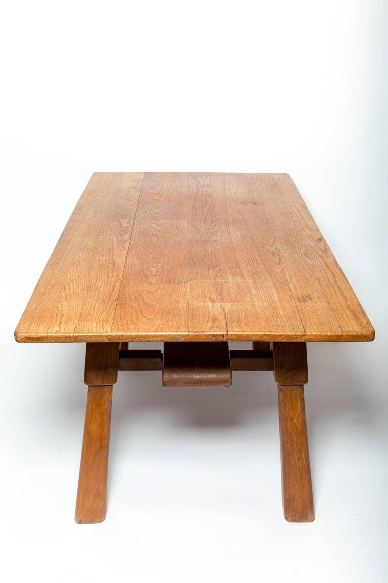 Brutalist Oak Table by Cercle Jean Touret for Marolles For Sale 2