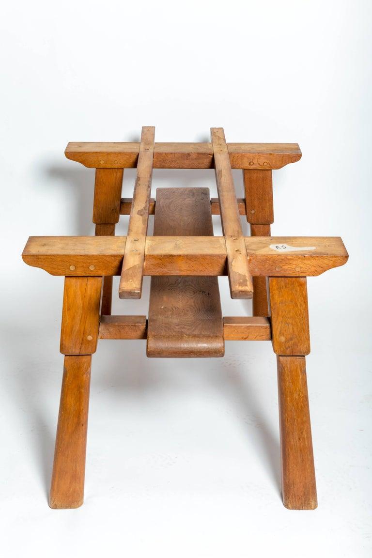 Brutalist Oak Table by Cercle Jean Touret for Marolles For Sale 3