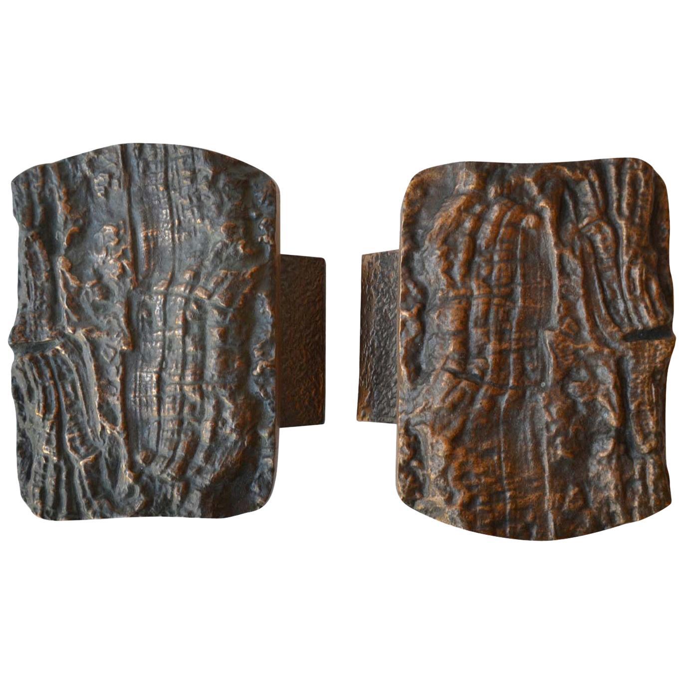 Brutalist Pair of Bronze Push and Pull Door Handles