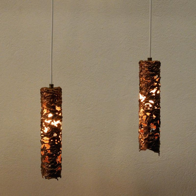 Brutalist Pair of Cylinder Shaped Copper Ceiling Lamps, 1960s, Sweden In Good Condition For Sale In Stockholm, SE