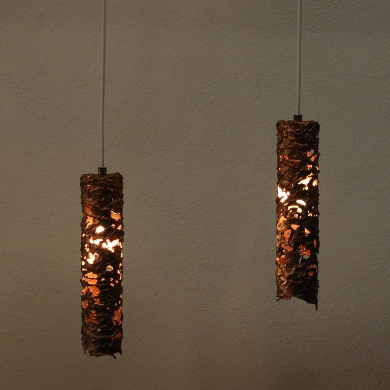 Mid-20th Century Brutalist Pair of Cylinder Shaped Copper Ceiling Lamps, 1960s, Sweden For Sale