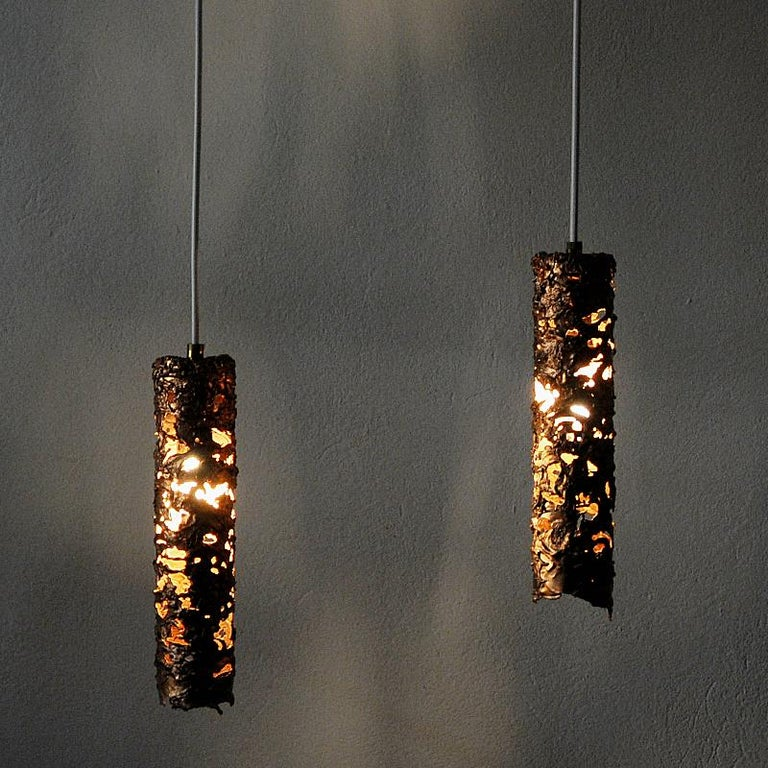 Brutalist Pair of Cylinder Shaped Copper Ceiling Lamps, 1960s, Sweden For Sale 1