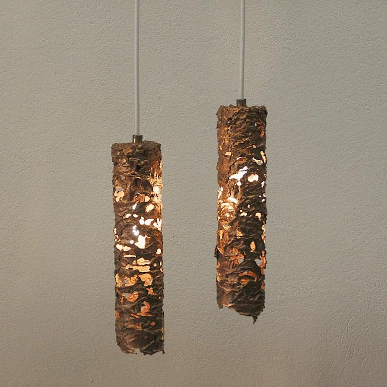 Brutalist Pair of Cylinder Shaped Copper Ceiling Lamps, 1960s, Sweden For Sale 2