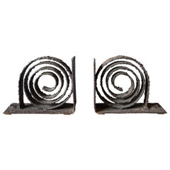 Brutalist Pair of Spiral Metal Bookends