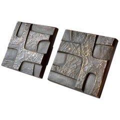 Brutalist Pair of Square Bronze Push and Pull Door Handles with Abstract Relief