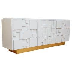 Brutalist Patchwork Mid-Century Modern White and Brass Dresser or Credenza