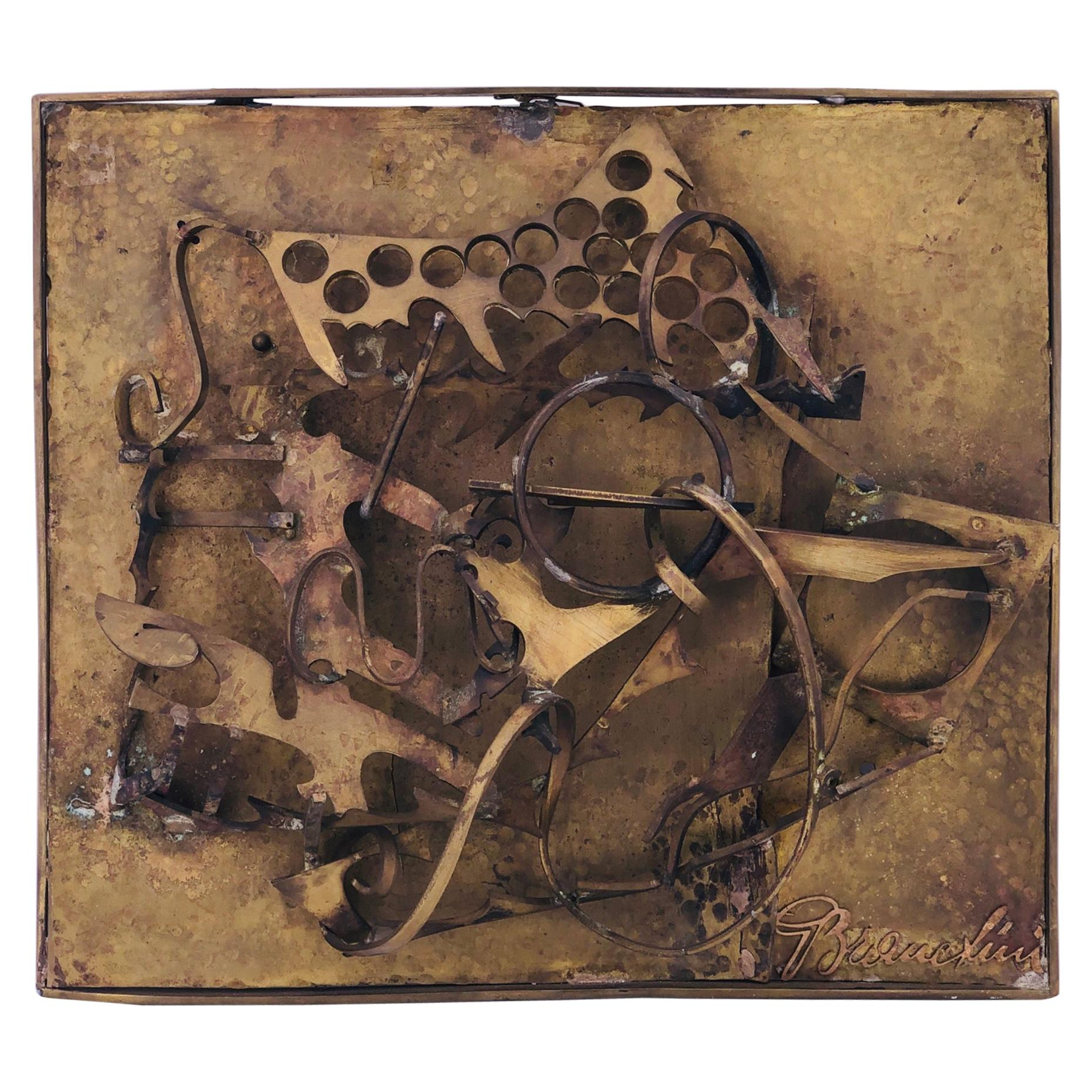 Brutalist Patinated Solid Bronze Abstract Wall Sculpture