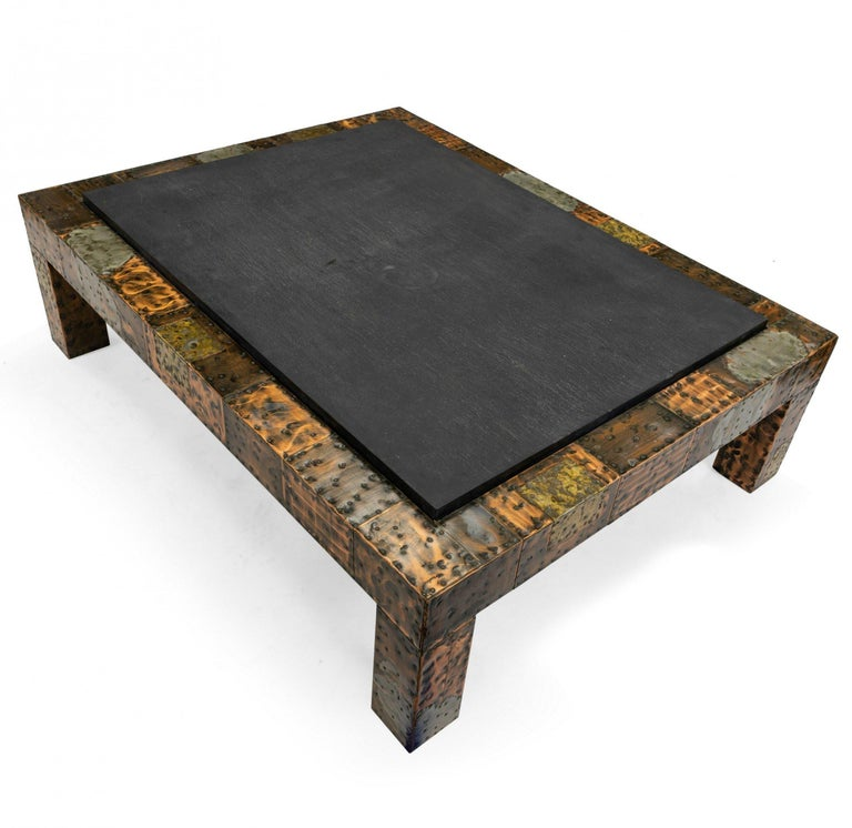 Brutalist American Modern 1970s Paul Evans for Directional patinated patchwork metal coffee table with riveted copper, brass, and pewter sheeting with slate top.