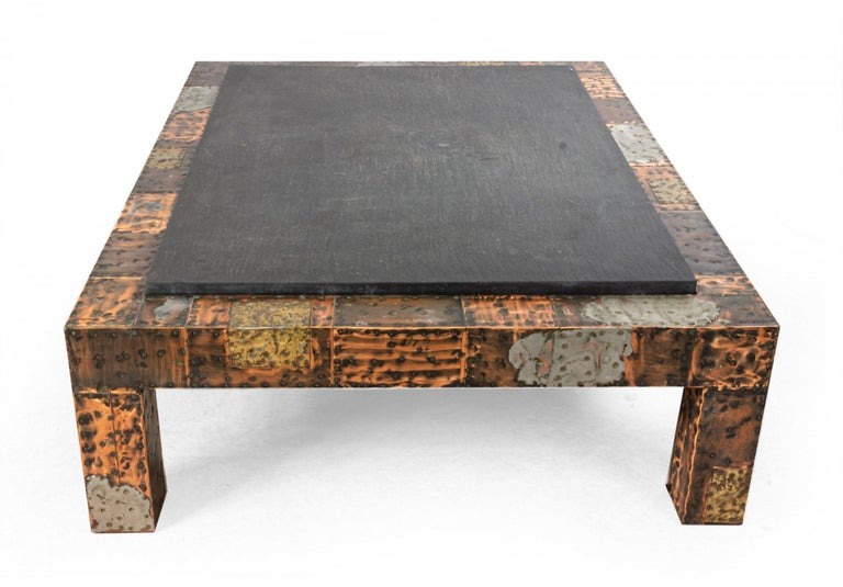 American Brutalist Paul Evans Patinated Patchwork Coffee Table with Slate Top For Sale