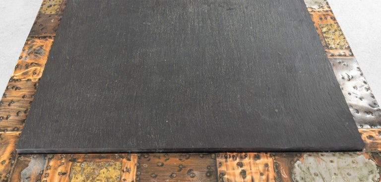 Brutalist Paul Evans Patinated Patchwork Coffee Table with Slate Top In Good Condition For Sale In New York, NY