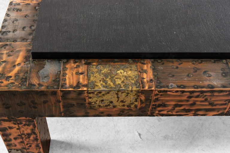 20th Century Brutalist Paul Evans Patinated Patchwork Coffee Table with Slate Top For Sale
