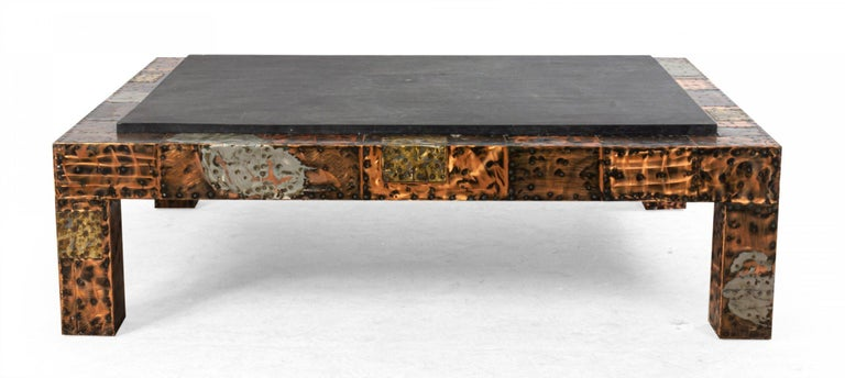 Copper Brutalist Paul Evans Patinated Patchwork Coffee Table with Slate Top For Sale