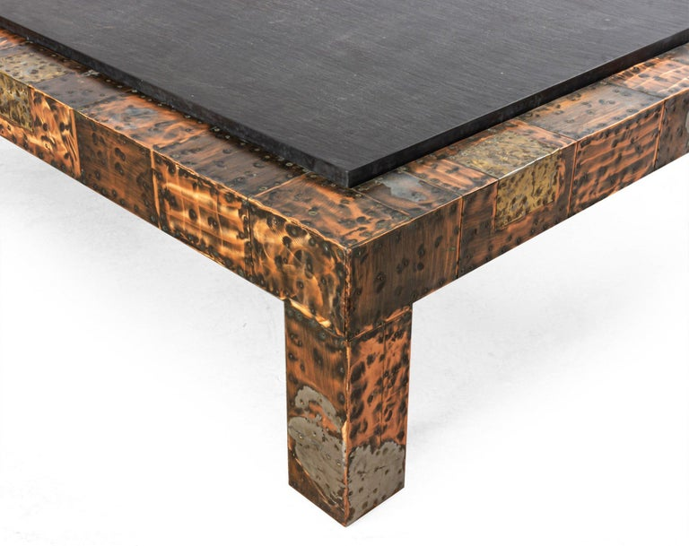 Brutalist Paul Evans Patinated Patchwork Coffee Table with Slate Top For Sale 1