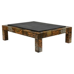 Brutalist Paul Evans Patinated Patchwork Coffee Table with Slate Top