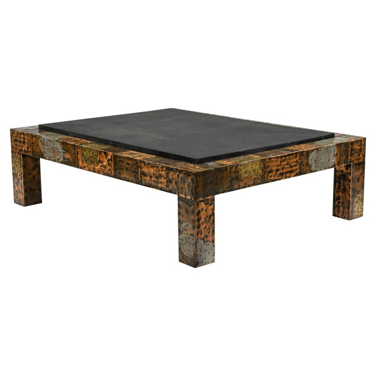 Brutalist Paul Evans Patinated Patchwork Coffee Table with Slate Top For Sale