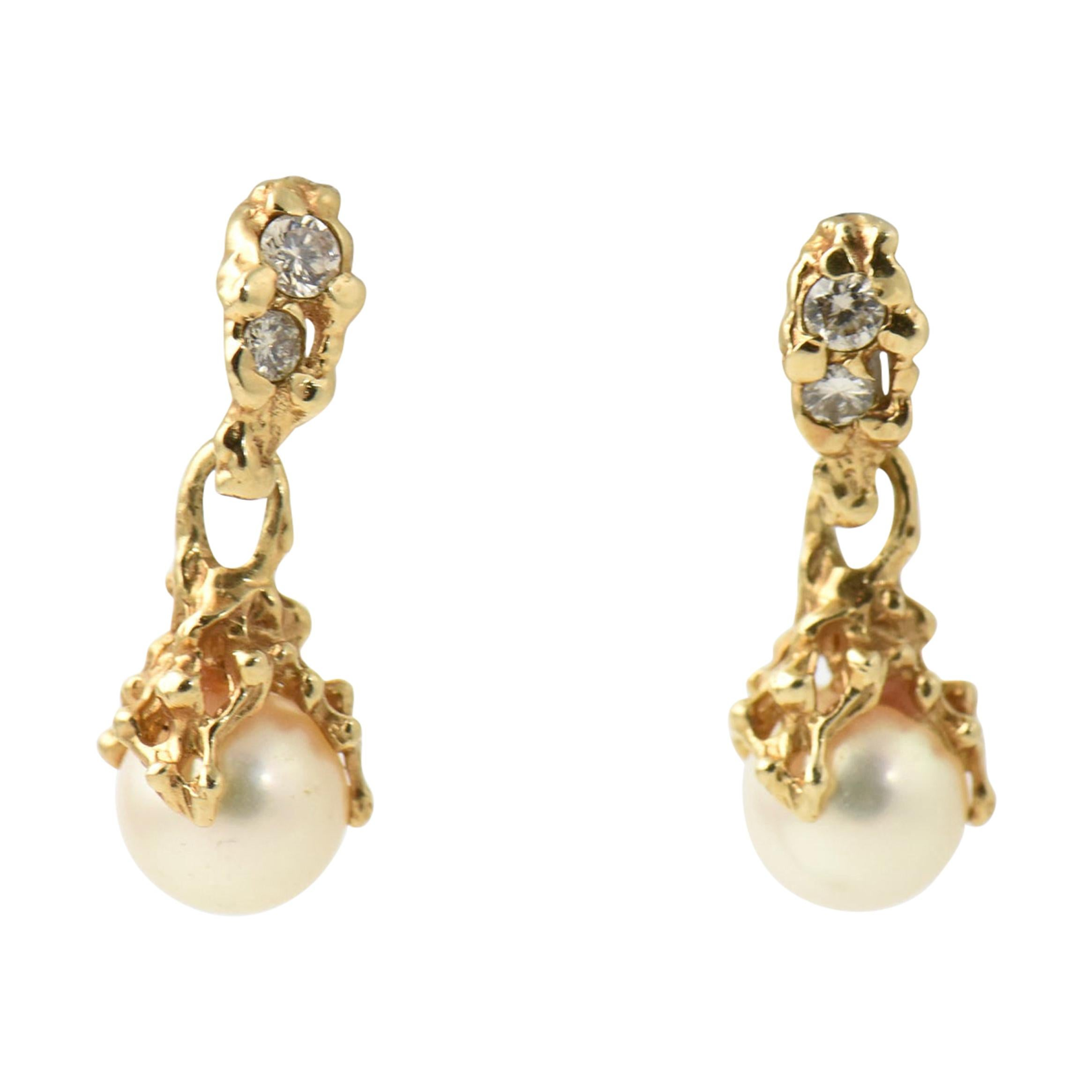 Brutalist Pearl and Diamond Yellow Gold Dangle Drop Earrings