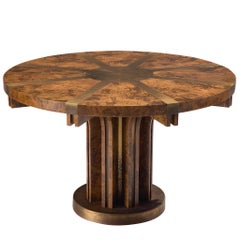 Brutalist Pedestal Table in Burl Wood and Brass, Italy, 1950s