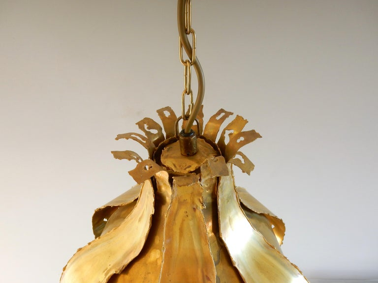 Danish Brutalist Pendant Lamp by Thea Metal from Denmark, 1960s For Sale