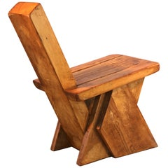 Brutalist Pierre Jeanneret Style Decorative Stool or Low Chair in French Oak
