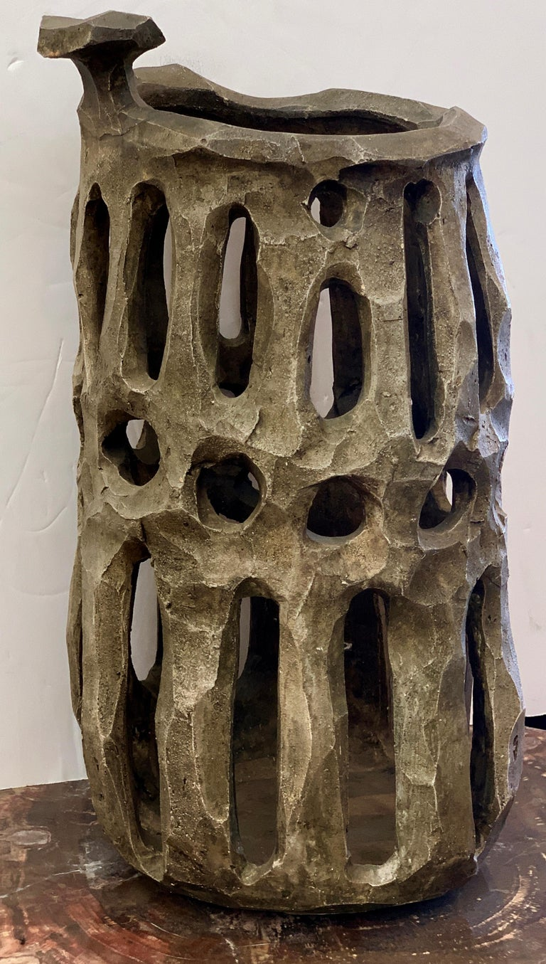 A large scale extremely well executed piece of pottery purchased from the estate of Daniel Gluck. We are not sure if this was executed by him or acquired by him. It is Brutalist in style. Nice glaze. There is one old repair that we have seen, by the